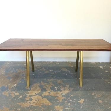Dining Table - Seats 8-10 - Black Walnut with Solid Brass Base by OlivrStudio