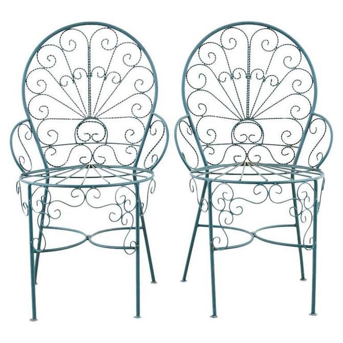 Pair of Salterini Style Iron Garden Patio Chairs by ErinLaneEstate