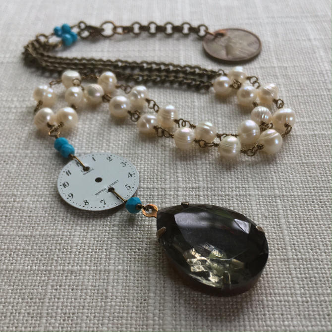 Time and Tide [assemblage necklace: vintage pendant, watch face, turquoise, pearls, lucky penny] by nonasuch