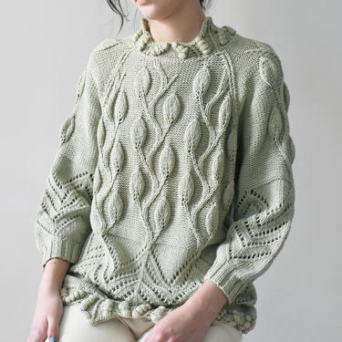 vintage bobble sweater, sage green cotton knit pullover, size M by ImprovGoods