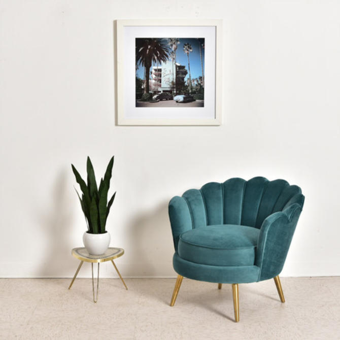 Teal Peacock Club Chair