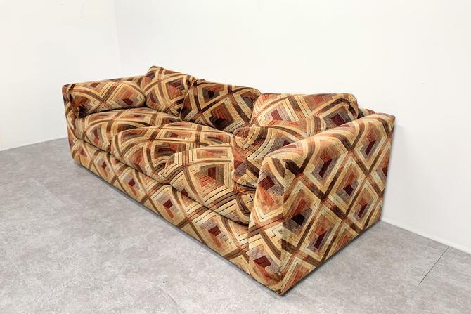 1970s Patterned Kroehler Sofa by BetsuStudio