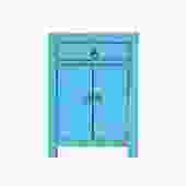 Distressed Pastel Bright Blue Lacquer Drawer End Table Nightstand cs5399S