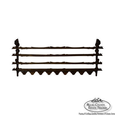 Antique 19th Century Carved Oak Plate Rack by BucksEstateTraders