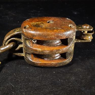 Antique Block, Double Sheave with hook