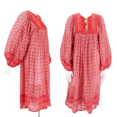 70s JUDITH ANN Rita Kumar red tissue cotton India print peasant dress S / vintage 1970s billowy hippy festival caftan XS 4 by ritualvintage