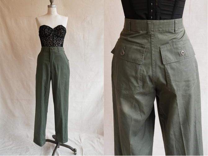 Vintage 80s Green Army Pants/ 1980s High Waisted Patch Pocket Straight Leg Utility Pants/og 507/ Size 28 by bottleofbread