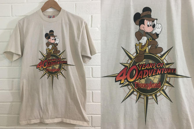 Vintage Disneyland Shit Mickey Mouse Tshirt Walt Disney Clothing Retro Sleeve Crewneck Unisex Medium 1990s 90s 1995 Indiana Jones USA by CheckEngineVintage
