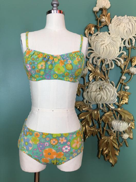 1960s bikini, 2 piece swimsuit, vintage bathing suit, mod swimsuit, size x small, 30 bust, 24 waist, aqua floral, retro swimsuit, hippie by BlackLabelVintageWA