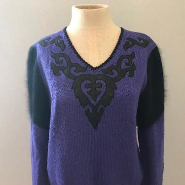 Vintage 80s Angora and Pleather Hair Metal Sweater by citybone