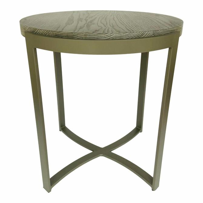 Johnston Casuals Modern Gray Wood Exo Round End Table