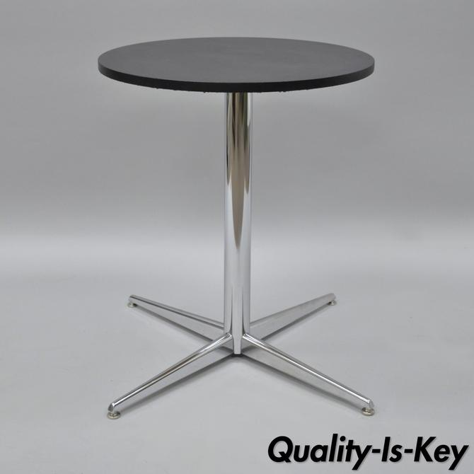 Chrome Dining Table Round Pedestal Base Star Mid Century Modern - Mid century pedestal dining table