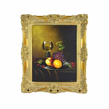 1970s Robert Nisznerni Hungarian Still life Oil Painting w Fruit and Wine Goblet by PrairielandArt
