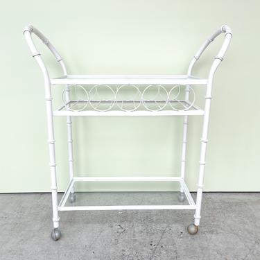 Faux Bamboo Metal Bar Cart