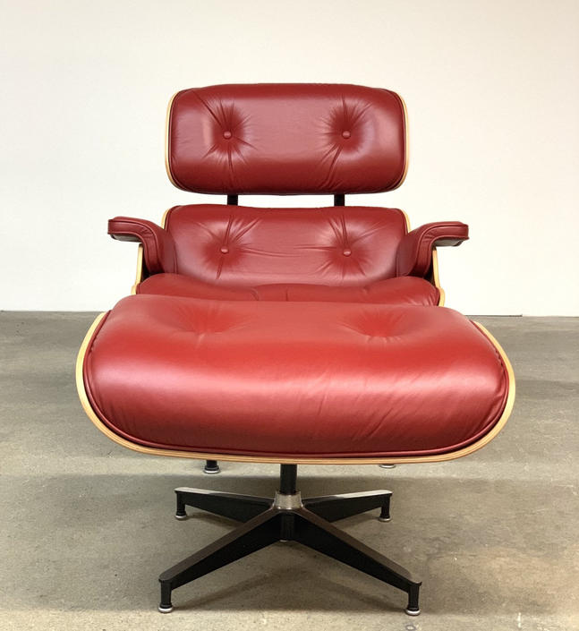 Herman Miller Red Leather 670 Lounge Chair and Ottoman 671 by midcenTree