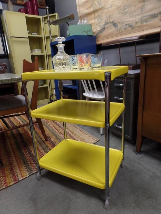 Mid-Century bright yellow metal Costco serving cart