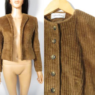 Vintage 80s Evan Picone Chunky Corduroy Cropped Blazer Jacket Made In USA Size XS by VelvetCastleVintage