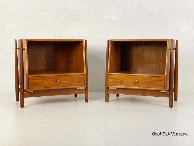 Kipp Stewart for Drexel Declaration Nightstands (Pair), Circa 1960s - *Please request a shipping quote before you buy. by CoolCatVintagePA