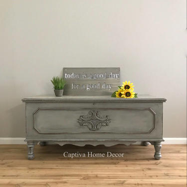 SOLD- Hand painted Paris Grey cedar chest, Boucle top, beautiful details, black wax, drybrushed, hope chest, bench, coffee table by CaptivaHomeDecor