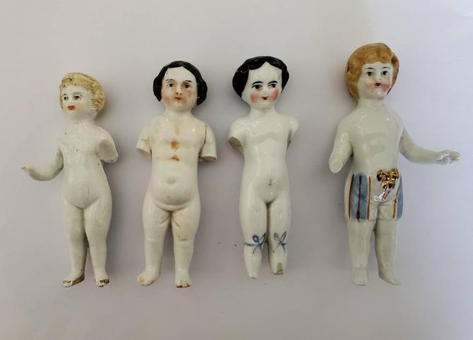 "Antique Miniature Frozen Charlotte Frozen Charlie Doll Lot - Antique Doll Lot - Miniature Collectible Dolls 3.5"" - 4"" - Damaged Lot by HeySailorNiceVintage"