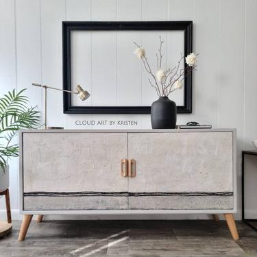 Midcentury Boho Modern Home Decor Minimalist TV Stand Sideboard Credenza Console Black Gray Spackle Art Painted Furniture by CloudArtbyKristen