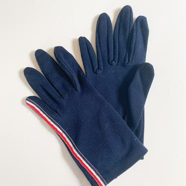 vintage 1950s Navy Nylon Gloves with striped ribbon / 7.5-8.5 by MsTips
