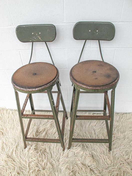 Set of 2 Vintage Industrial Metal Bar Stools (Sold as a set!) by PortlandRevibe