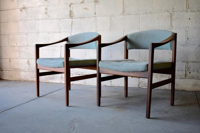 Pair of Walnut Mid Century Modern TUFTED ARMCHAIRS by CIRCA60