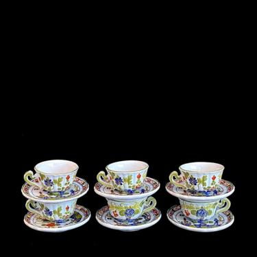 Vintage 1960s Set of 6 Italian Pottery Ceramic Hand Painted Demitasse Cups and Saucers Italy Faenza by SwankyChaperooo