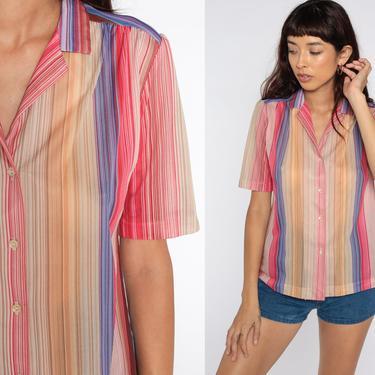 Puff Sleeve Blouse Pink Orange Striped Shirt 80s Button Up Shirt Semi-Sheer Top Vintage Short Sleeve Blouse Boho Retro 1980s Medium by ShopExile