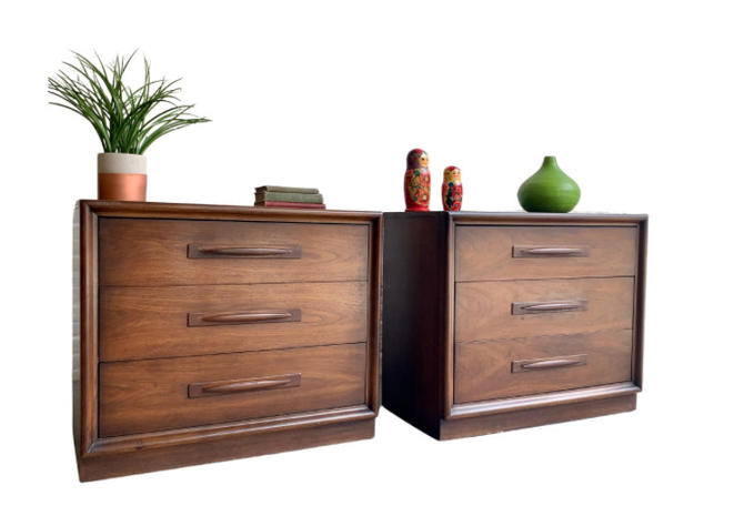 Mid Century MODERN DRESSERS by Broyhill Emphasis, a PAIR by CIRCA60