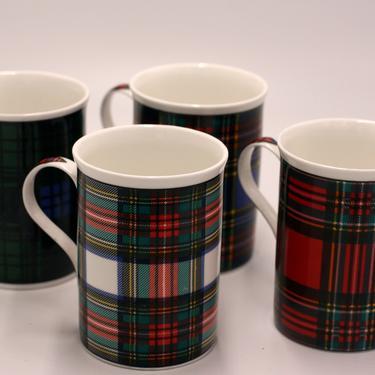 vintage Crown Trent coffee mugs/set of four Tartan plaid/bone china/made in england by suesuegonzalas