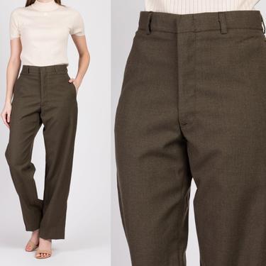 Vintage Olive High Waist Wool Trousers - 31R, Men's Small, Women's Medium | 80s Army Green Minimalist Unisex Pants by FlyingAppleVintage