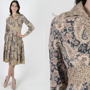 Vintage Dagger Collar Dress / 70s Blue Paisley Floral Dress / 1970s Beige Calico Slit V Neck / Womens Empire Waist Full Skirt Midi Mini by americanarchive