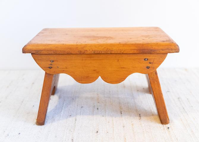 Handmade Vintage Hand Made Solid Wood Stool by PortlandRevibe