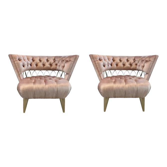 Caracole Modern Tufted Blush Velvet and Brass Metal Prototype Club Chairs Pair - a Pair