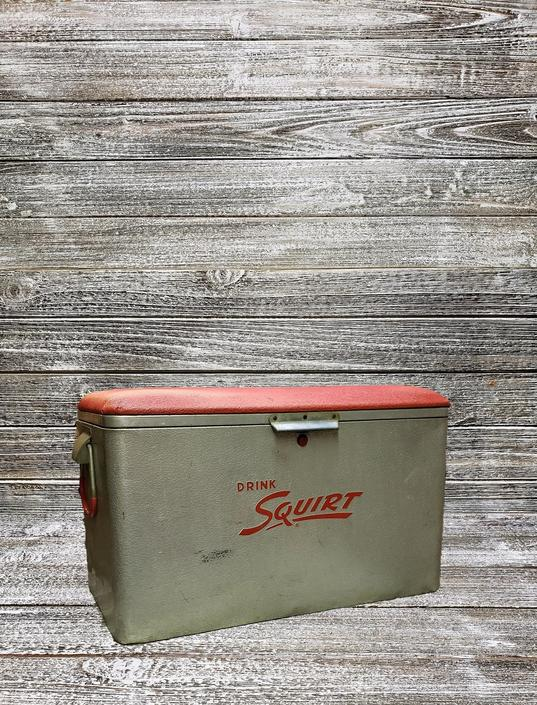 Vintage Squirt Cooler & Tray, Aluminum Soda Cooler, Silver Metal Ice