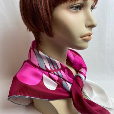 Beautiful Vibrant~ X LG 100% silk scarf~ bold print circles~ geometric shapes~ MCM 50's-60's Mod retro~ fuchsia pink & gray by HattiesVintagePDX