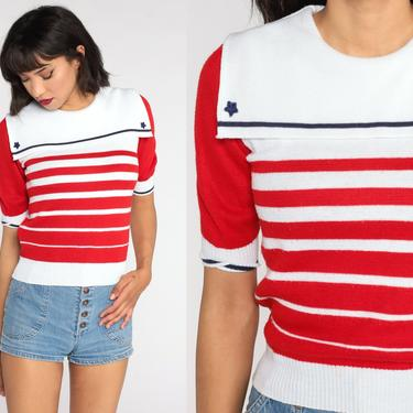 Nautical Sweater Top 80s Knit Shirt Striped Shirt Short Sleeve Sweater Yacht White Red Sailor Retro Striped Collared Extra Small xs s by ShopExile