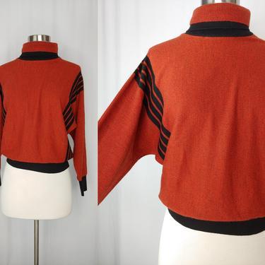 Vintage 80s Rodier Paris Wool Bend Sweater -Eighties XS - Small Red Black Striped Dolman Sleeve Turtleneck Sweater by JanetandJaneVintage