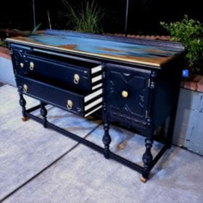 Hand Painted Antique Jacobean Buffet/Sideboard by OMGaudyLA