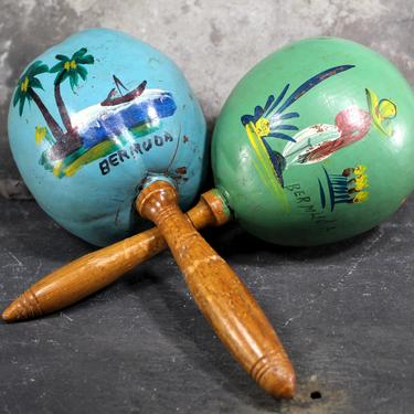 Maracas - Vintage Hand Painted Mix and Match Maracas - Bermuda Souvenir - Green and Blue Painted Gourds  | FREE SHIPPING by Trovetorium
