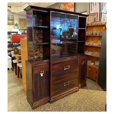 """1940's (two part) Mahogany China cabinet with glass sliding door / brass knobs 73"""" tall / 60.2"""" wide / 16.5"""" deep"""""""