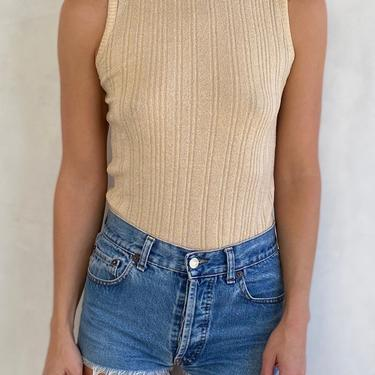 60s / 70s Vintage Champagne Essential Rib Knit Tank - Soft Golden Cream Ribbed Fitted Sleeveless Tank - Summer Staple by LittleSparkVintage