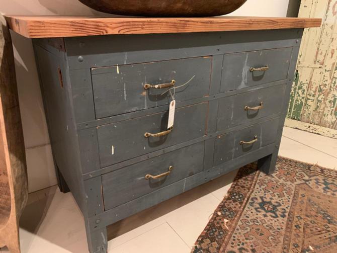 "Vintage 6-drawer workbench, 4' w x 22.75"" d x 32.5"" t, $395."