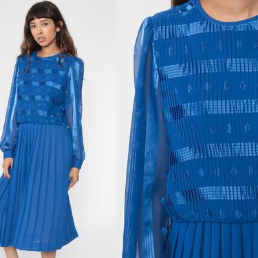 Royal Blue Dress 80s Midi Dress Boho PUFF SLEEVE Pleated Dress Drop Waist Secretary Long Sleeve Vintage Medium Large by ShopExile