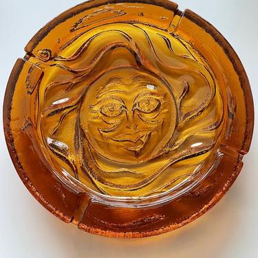 Large Orange Blenko 'Sun Face' Glass Ashtray