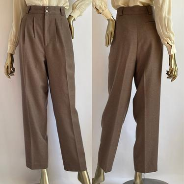 """Brown Wool 1980's High Waist Front Pleat Trousers 13.5"""" Rise by BeggarsBanquet"""