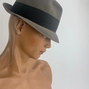 1950'S RESISTOL FEDORA - Self-Conforming - 1-3/4 Inch Brim - Extra Long Oval - Men's Size 7-3/8 by GabrielasVintage
