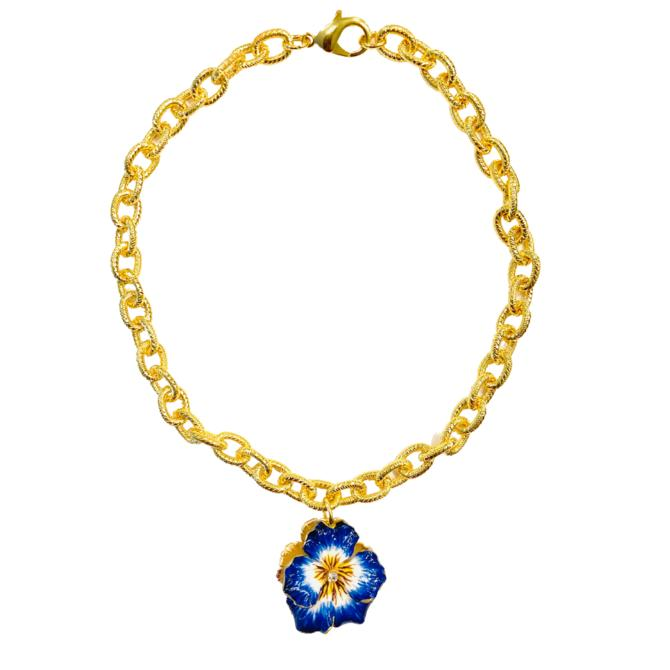The Pink Reef Navy and yellow pansy necklace